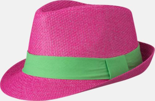 Fuchsia/Limegrön Fina sommarhattar i många färger med reklambrodyr