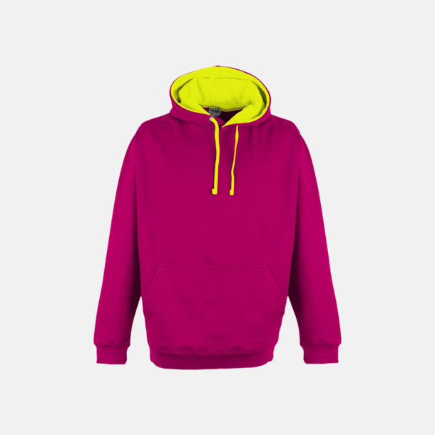 Hot Pink/Electric Yellow Huvtröjor med kontrastfärger - med tryck