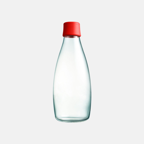 Röd Större glasflaskor med reklamtryck