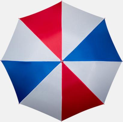 Röd/Vit/Blå Golfparaplyer med ergonomiska trähandtag