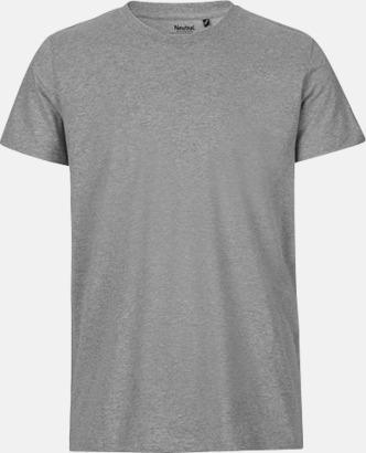 Sports Grey (herr) Fitted t-shirts i ekologisk fairtrade-bomull med tryck