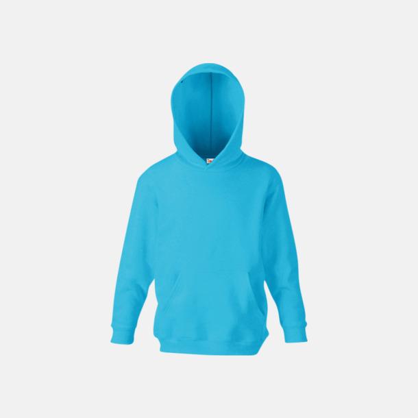 Azure Blue Huvtröjor för barn i många färger med reklamtryck