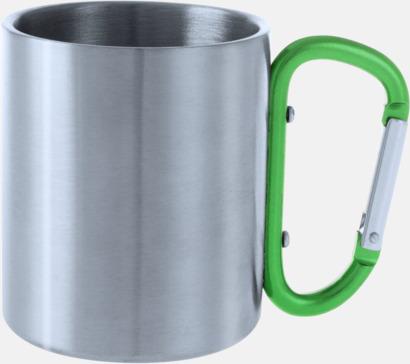 Silver / Grön Stålmuggar med färgat karbinhakeöra med reklamtryck