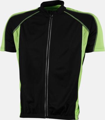 Svart/Limegrön (herr) Herr- och damcykeltröjor med hel dragkedja - med reklamtryck
