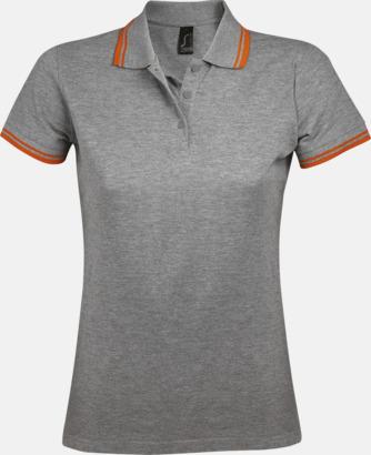 Grey Melange/Orange (dam) Herr- och dampikéer med kontrasterande ränder - med tryck eller brodyr