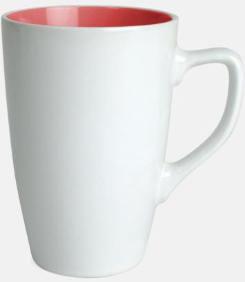 Vit/Röd Kaffemuggar med färgad insida
