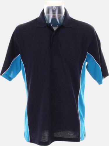 Marinblå/Turkos/Vit Sportiga pikétröjor med reklamtryck eller -brodyr