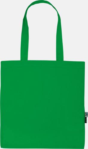 Grön (Långa handtag) Tygkassar i ekologisk och Fairtrade odlad bomull med eget reklamtryck