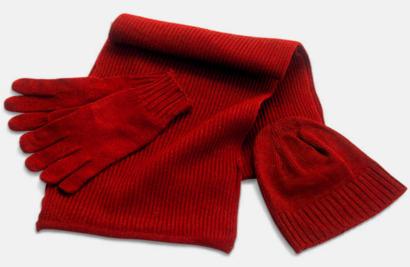 Röd Set med mössa, vantar och halsduk med reklambrodyr