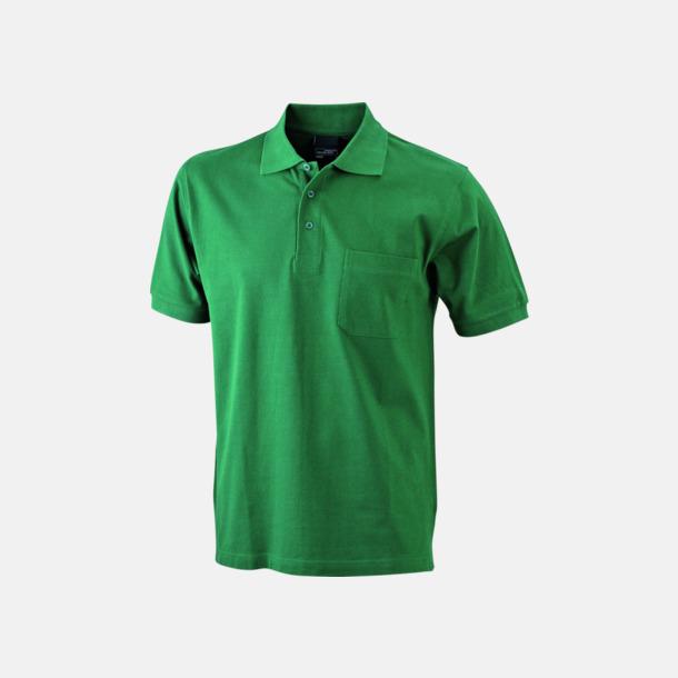Mörkgrön Fickförsedda pikétröjor med reklamtryck