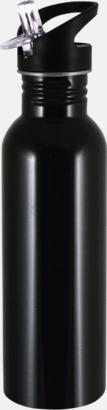 Svart 0,75 liters sportflaskor i rostfritt stål med reklamtryck