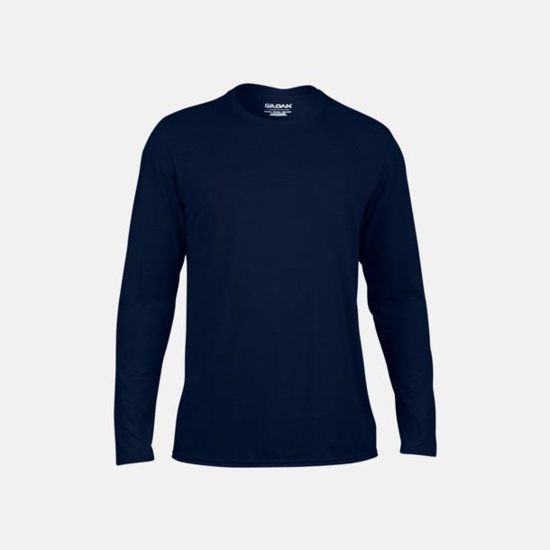 Marinblå (herr) Långärmade funktionströjor för vuxna och barn med reklamtryck