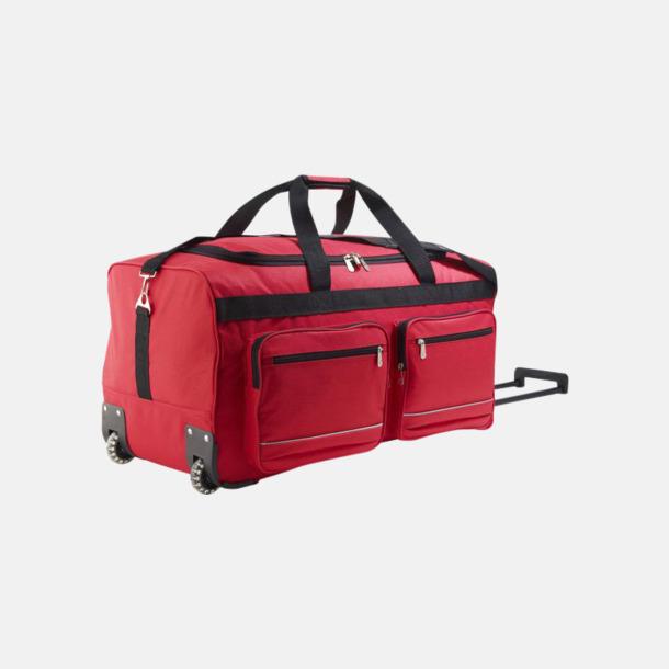 Röd Resväska med hjul och teleskophandtag - med tryck