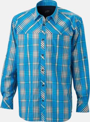 Azure/Marinblå (herr) Rutiga dam- och herrskjortor med reklamtryck