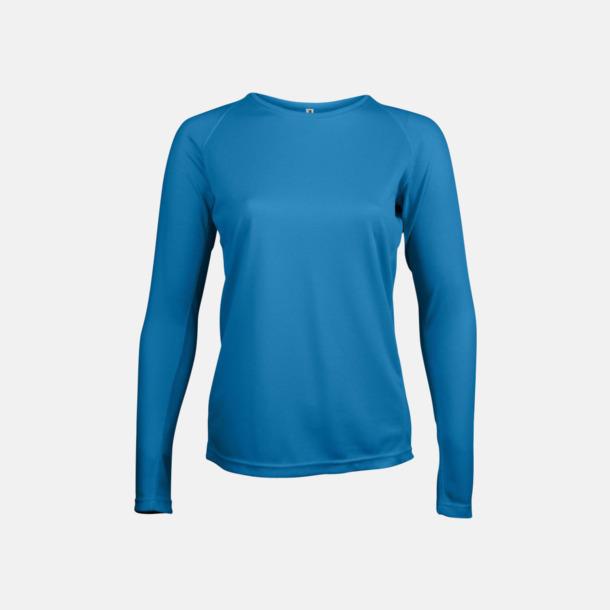 Aqua Blue Sport t-shirts med långa ärmar för kvinnor - med reklamtryck