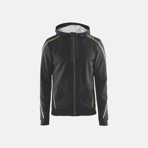 Asphalt/Flumino/Grey Melange Tränings huvtröjor med dragkedja med reklamtryck