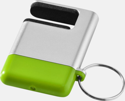 Silver / Grön Skärmrengörare, ställ och nyckelring - med reklamtryck