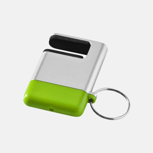 Silver / Limegrön Skärmrengörare, ställ och nyckelring - med reklamtryck
