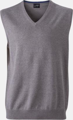 Heather Grey V-ringad pullover med eget tryck