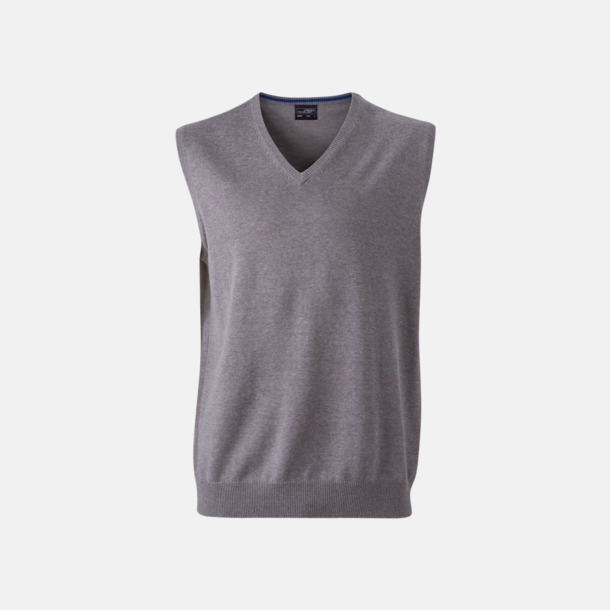 Heather Grey V-ringad pullover med eget tryck