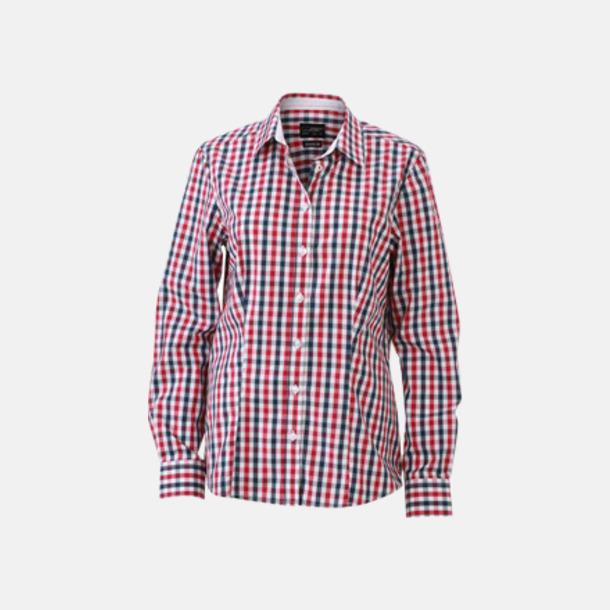 Marinblå/Röd-Marinblå/Vit (dam) Rutiga bomullsskjortor & -blusar med reklamtryck