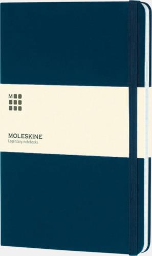 Mörkblå (ruled) Moleskines stora anteckningsböcker (ca A5) med linjerade eller rutade sidor - med reklamtryck