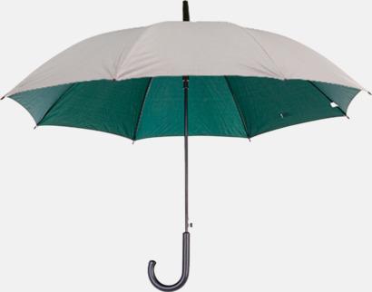 Silver / Mörkgrön Paraplyer med färg på insidan - med reklamtryck