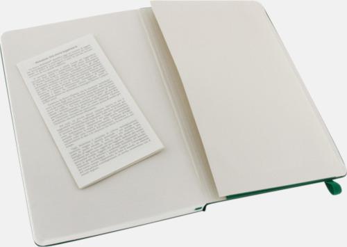 Innerficka Moleskines stora anteckningsböcker (ca A5) med linjerade eller rutade sidor - med reklamtryck
