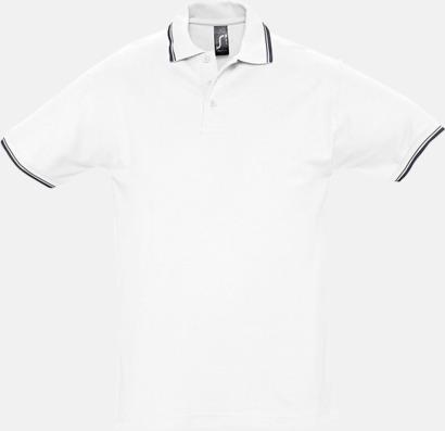 Vit/Marinblå (herr) Snygga pikétröjor för herr och dam