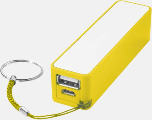 Gul Extrabatteri med nyckelring - med reklamtryck