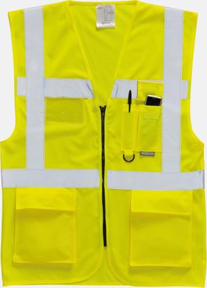Hi-Vis Yellow Varselvästar med 2-färgade modeller - med reklamtryck
