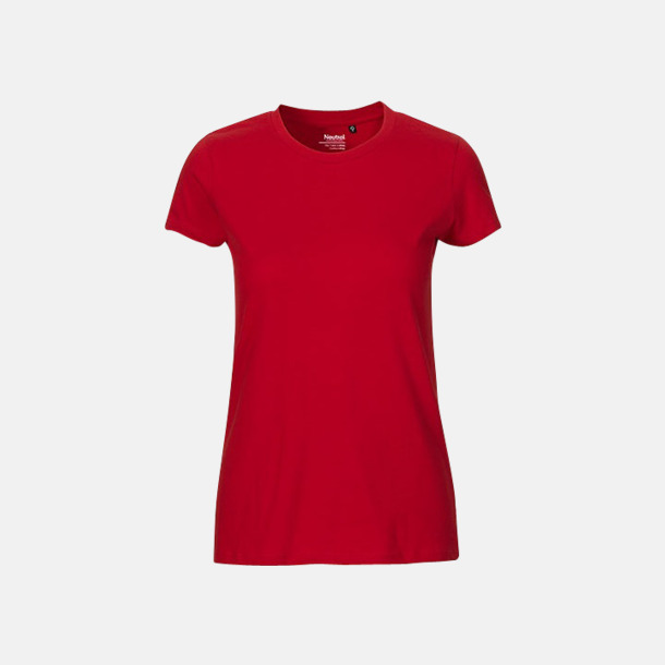 Röd (dam) Fitted t-shirts i ekologisk fairtrade-bomull med tryck