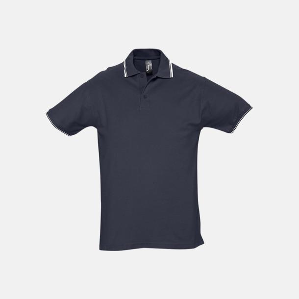 Marinblå/Vit (herr) Snygga pikétröjor för herr och dam
