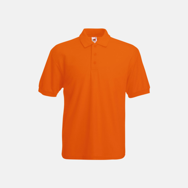 Orange Pikétröjor med reklamtryck eller brodyr