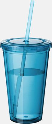 Aqua Plastmuggar med lock och sugrör - med tryck
