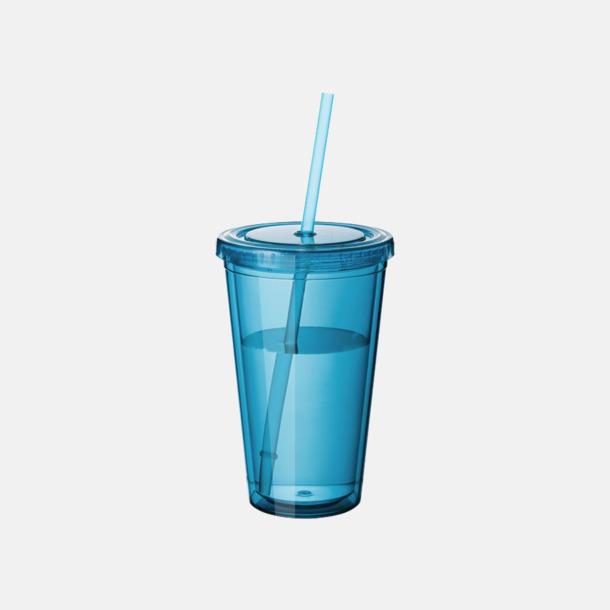 Aqua Plastmuggar med lock och sugrör - med reklamtryck