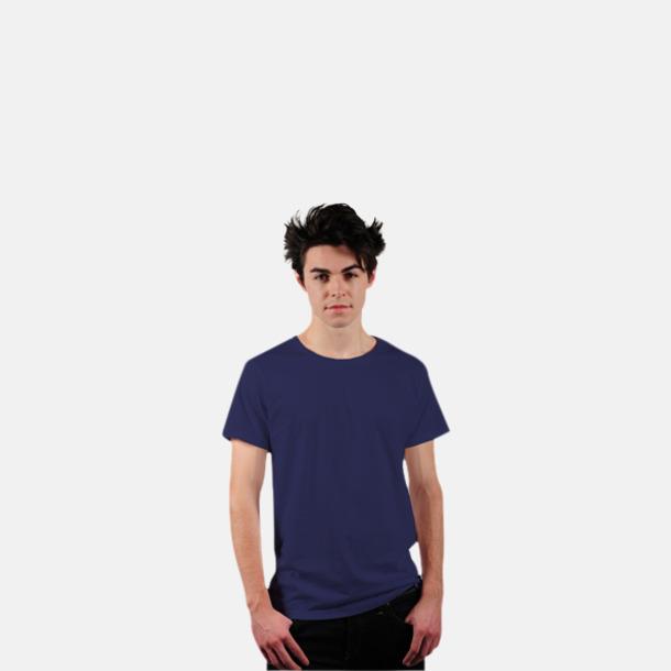 Marinblå Eko t-shirts i Fairtrade-bomull med reklamtryck
