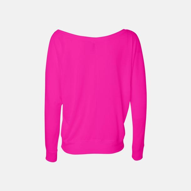 Neon Pink Långärmade dam t-shirts med reklamtryck