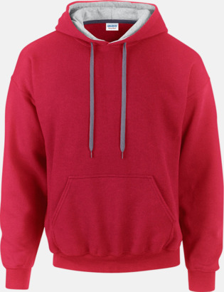 Röd/Sport Grey (Heather) Tvåfärgade huvtröjor med reklamtryck