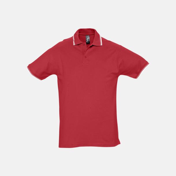 Röd/Vit (herr) Snygga pikétröjor för herr och dam