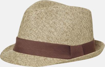 Beige-melange/Brun Fina sommarhattar i många färger med reklambrodyr