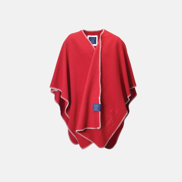 Röd Mysig poncho i mjuk fleece