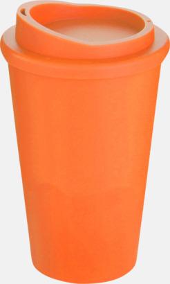 Orange Kaffemuggar för utemiljöer med lock
