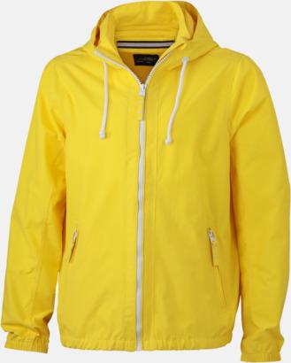 Sun Yellow/Vit (herr) Seglarjackor i herr- & dammodell med reklamtryck