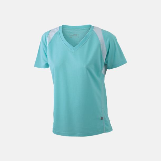 Mint/Vit Flerfärgade funktionströjor med eget tryck