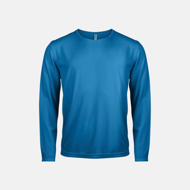 Aqua Blue Sport t-shirts med långa ärmar för män - med reklamtryck