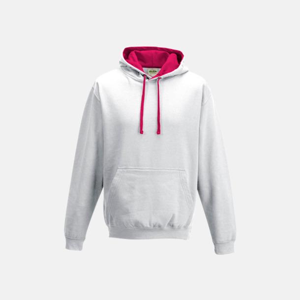 Arctic White/Hot Pink Huvtröjor med insida av luva och dragsko i kontrasterande färg - med reklamtryck