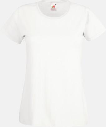 Vit Figursydd damt-shirt med reklamtryck