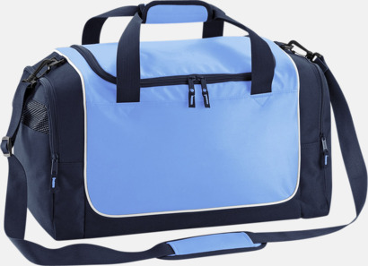 Sky Blue/French Navy/Vit Kompakta träningsväskor med reklamtryck