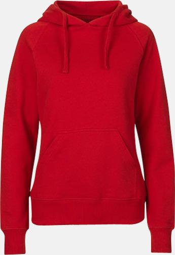 Röd (dam) Ekologiska huvtröjor för herr och dam med tryck